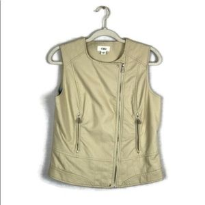 CATO faux leather cream motorcycle vest sz medium